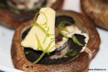 Förrätt med limegrillad svamp