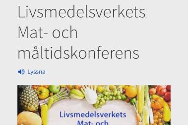 Framme: Livsmedelsverkets Mat- och måltidskonferens