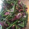 Haricot verts med mandel och rödlök