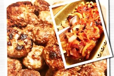 Ost- & bacon köttbullar med tomatröra