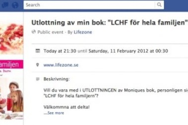 Jag lottar ut min bok 'LCHF för hela familjen' via facebook!