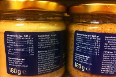 Nötsmör och nötsmör… Kolhydratsmängden skiljer sig markant!