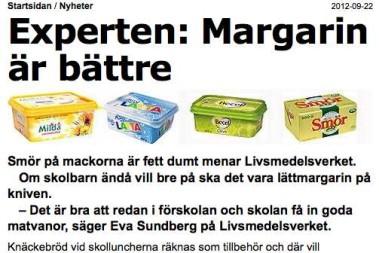 'Experter' menar mera margarin till barnen(?)!