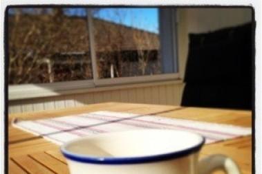 Kaffestund på altanen