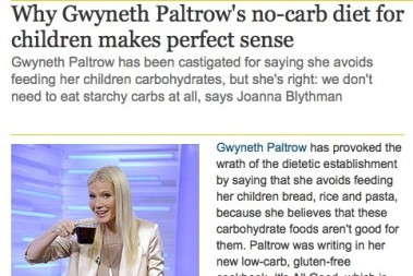 Gwyneth Paltrow ger sina barn LCHF kost!