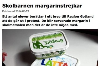 Skolbarnen vägrar margarin